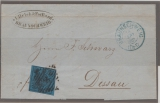 Braunschweig, 1861, Mi.- Nr.: 7 als EF auf Fernbrief von Braunschweig nach Dessau