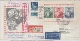 Bizone, 1949, Mi.- Nr.: Bl. 1 u.a. als MiF auf Luftpost- Einschreiben- Fernbrief- FDC, von Hannover nach Hamburg, K.- Befund Schlegel BPP
