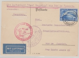 Weimar, 1930, Mi.- Nr.: 438 als EF auf Zeppelinpostkarte von Hannover via Friedrichshafen nach Rio de Janeiro