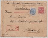 DR, 1900, Mi.- Nr.: 48 (Krone- Adler!) + Nr.: 56 (Germania!) als MiF, auf Einschreiben- Fernbrief von Jena nach Ordruf