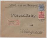 DR, 1900, Mi.- Nr.: 48 (Krone- Adler!) + Nr.: 56 (Germania!) als MiF, auf Postauftrag- Einschreiben- Fernbrief von Hannover nach Wernigerode
