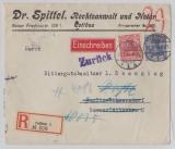 DR, 1914, Mi.- Nr.: 86 Ic u.a. als MiF auf Einschreiben- Fernbrief von Cottbus nach Berlin (und zurück), FA Kroschel VPEX