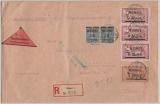 Memel, 1922, Mi.- Nr.: 61 (2x), 70 + 93 (3x) als MiF auf Nachnahme- Einschreiben- Fernbrief von Memel nach Breslau
