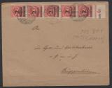 Infla, 1923, Mi.- Nr.: 309 BP (5x), als MeF auf Bedarfs- Fernbrief von Ganderkesee nach Grüppenbühren