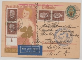 DR, Weimar, 1929, 8 Pfg. Nothilfe- GS + 4x Mi.- Nr.: 420 alz Zusatzfr. als Lupo- Zeppelinkarte von Bergen nach den USA