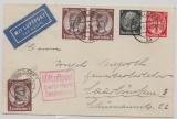 DR, 1934, Mi.- Nr.: 540 (3x) u.a. als MiF auf Luftpostbrief von Düsseldorf nach Saarbrücken, mit Flugbestätigungsstempel!