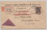 DR, Germania 1908, Mi.- Nr.: 91 I als EF auf Nachnahme- Einschreiben- Fernbrief, von FF/M nach Eisenstein