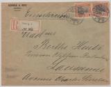 DR, Germania 1906, Mi.- Nr.: 89 I (2x) als MeF auf Einschreiben- Auslandsbrief, von Danzig nach Lausanne (CH)