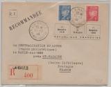 Dt. Bes. Frankreich, Saint Nazaire, 1944, MiF Einschreiben, (I. Portoperiode), selten!