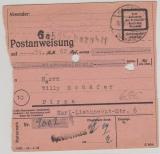 Postanweisung, 1945, von Heidenau nach Pirna, Ausgezahlt (=> das signalisieren die 2 Löcher!)