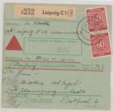 933 (2x), MeF auf NN- Paketkarte, von Leipzig nach Schwerin, seltene Portostufe!
