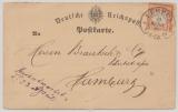 DR, 1873, Mi.- Nr.: 18 als EF auf Fernpostkarte von Lübeck nach Hamburg, mit gr. Hufeisenstempel Lübeck