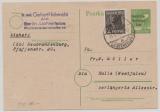 SBZ / Berlin, 1948, SBZ- GS P 30 + Berlin Mi.- Nr.: 1 als Zusatzfrankatur als Fernpostkarte von Berlin (W) nach Halle (Westf.)