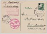 Zeppelin, 1937, Mi.- Nr.: 535 als EF auf Postkarte zur Deutschlandfahrt 1937, mit Abruchstempel, von Köln (?) nach Bad Nauheim