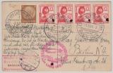 Zeppelin, 1937, Mi.- Nr.: 645 (4x) u.a. als MiF auf Postkarte zur Deutschlandfahrt 1937, mit Abbruchstempel, nach Berlin