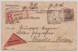 Germania, 1910, Mi.- Nr.: 89 I als EF auf Eingeschriebener- Auslands-Nachnahme- Postkarte von Dresden nach Rapallo (It.)