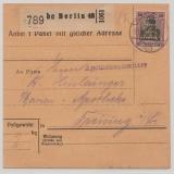 Germania, Mi.- Nr.: 91 I als EF auf Paketkartenstammteil, für ein Paket von Berlin nach Freising