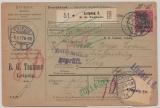 Germania, 1917, Mi.- Nr.: 99 I als EF auf Auslands- Paketkarte, für ein Paket von Leipzig Zug (CH)