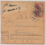 Germania, Mi.- Nr.: 94 A I als EF auf Paketkartenstammteil, für 2 Pakete von Elberfeld nach München