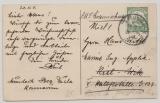 Kamerun, 1911, Mi.- Nr.: 21, als EF auf Bildpostkarte (Faktorei in Bonaberi) von Mundeck nach Kiel (Marine!)