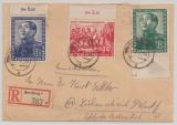 DDR, 1951, Mi.- Nrn.: 286- 88 (je vom Ur / Or) als MiF auf kpl. Einschreiben- Satzbrief von Bernburg nach Lüdenscheidt