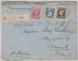 Belgien, 1925 (?), 1,9 Fr. MiF auf Auslands- Einschreiben von Ixelles Elsene nach Wien