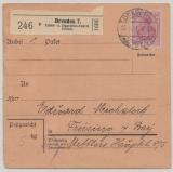 DR, Germania, 1917, Mi.- Nr.: 92 als EF auf Paketkartenstammteil für ein Paket von Dresden nach Freising, selten!