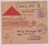 DR, Germania, 1915, Mi.- Nr.: 92 als EF auf Nachnahme-Paketkartenstammteil für ein Paket von Dessau nach Plattling, sehr selten!