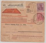 DR, Germania, 1918, Mi.- Nr.: 86 + 92 als MiF auf Nachnahme- Paketkartenstammteil für ein Paket von Kötschenbroda nach Richnach