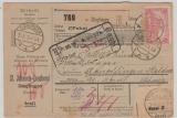 DR, Germania, 1919, Mi.- Nr.: 94 AII (2x!) als MeF auf Auslands- Paketkarte für ein Paket von Dinglingen nach Basel (CH)