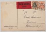 DR, Germania, 1917, Mi.- Nr.: 88 + 99 als MiF (32,5 Pfg. !) auf Eilboten- Fernpostkarte von Erfurt nach München