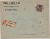 DR, Germania, 1920, Mi.- Nr.: 91 als EF auf Einschreiben- Fernbrief von Trossingen nach Ulm