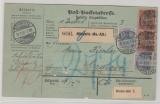 DR, Germania- Reichspost, 1901, Mi.- Nr.: 57 + 61 (je 2x) als MiF auf Auslandspaketkarte von Gössnitz nach Craiova (Rumänien)