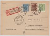 Berlin / BRB, Mi.- Nr.: 1 AB, 4A + 6A als MiF auf eingeschriebener Ortspostkarte innerhalb West- Berlin´s, Berlin- Vorläufer!!