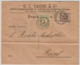 DR, Krone + Adler, Mi.- Nr.: 45, als EF + schweizer Nachportomarke auf Auslands- Drucksachenbrief von FF/M nach Basel (CH)