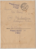 Brandenburg, 1945, Feldpost / Kriegsgefangenenpost: Kriegsgef.- Arb.- Kdo. 437, Klosterdorf, Brief nach Bilin- Sauerbrunn