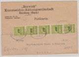 DR, Infla, 12.1923, Mi.-Nr.: 328 A (5x), als MeF auf Fernpostkarte von Herzberg (per Bahnpost) nach Celle, geprüft Infla!