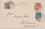 Schleswig, 1920, 10 Pfg. GS- Karte (Mi.- Nr.: P2) + Zusatzfrankatur als Fernpostkarte von Flensburg nach Dortmund