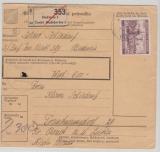 B + M, 1941, Mi.- Nr.: 58 als EF auf Wert- Paketkartenstammteil, für ein Paket von Budweis nach Bruck a.d. Donau