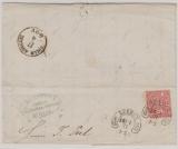 NDP, 1871, Mi.- Nr.: 16 in EF auf Fernbrief von Lübeck nach Köln, mit besseren Lübecker Hufeisenstempel!
