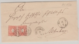 Sachsen, ca. 1865, Mi.- Nr.: 15 als MeF auf Fernbrief von Ronneburg nach Altenburg