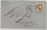 Sachsen, 1865, Mi.- Nr.: 18 als EF auf Fernbrief von Leipzig nach Reichenbach