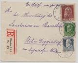 Bayern, 1917, Mi.- Nr.: 83 II u.a. als Ausgaben- MiF auf Einschreiben- Fernbrief von München nach Deggendorf