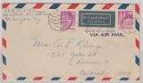 Bizone / BRD, 1952, Mi.- Nr.: 96 eg, (2x) als MeF auf Luftpost- Überseebrief von Wiesbaden nach Denver (USA)