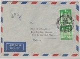 Bizone / BRD, 1952, Mi.- Nr.: 97 eg, (2x) als MeF auf Luftpost- Überseebrief von Baden Baden nach New Bruswick / NY (USA)