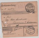 DR, Felpost, 1918, Felpost- Postanweisungs- Stammteil für einen Betrag von Straßburg nach Türkheim, sehr selten!!!