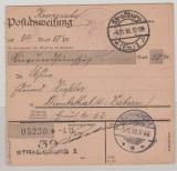 DR, Felpost, 1918, Felpost- Postanweisungs- Stammteil für einen Betrag von Straßburg nach Dimbsthal, sehr selten!!!