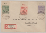 SBZ, 1946, Mi.- Nr.: 87 A - 89 A (je vom OR), in MiF auf Satz- Einschreiben- Fernbrief von Naumburg nach Lippstadt