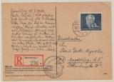 DDR, 1951, Mi.- Nr.: 255 als EF auf Einschreiben- Fernpostkarte von Bernburg nach Magdeburg