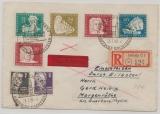 DDR, 1950, Mi.- Nr.: 256- 259 u.a. als Satzbrief- MiF auf Eilboten- Einschreiben- Fernbrief von Magdeburg nach Coburg
